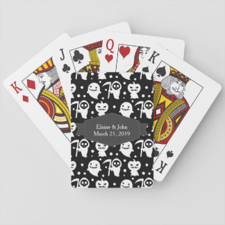 Kawaii Black and White Halloween Poker Deck