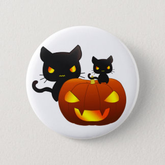Kawaii black cats and halloween pumpkin 6 cm round badge