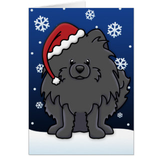 Kawaii Black Pomeranian Christmas Card