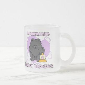 Kawaii Black Pomeranian Rally Obedience Frosted Glass Mug