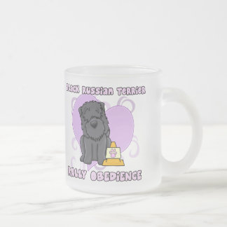 Kawaii Black Russian Terrier Rally Obedience Frosted Glass Mug