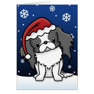 Kawaii Black & White Japanese Chin Christmas Card