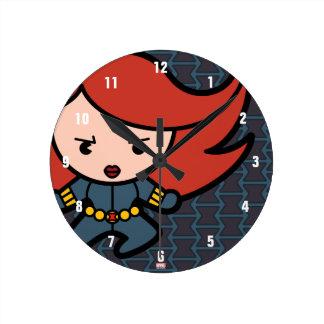 Kawaii Black Widow Dash Round Clock