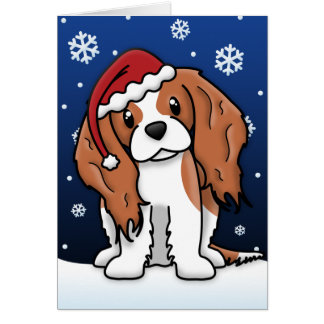 Kawaii Blenheim Cavalier Spaniel Christmas Card