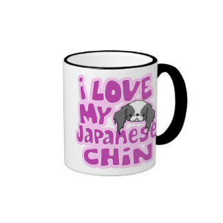 Kawaii Blk I Love My Japanese Chin Ringer Coffee Mug
