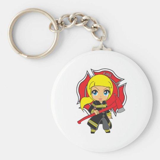 Kawaii Blonde Firefighter Girl Basic Round Button Key Ring