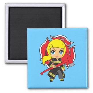 Kawaii Blonde Firefighter Girl Magnet