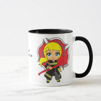 Kawaii Blonde Firefighter Girl Mug
