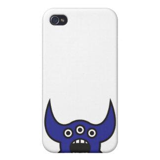 Kawaii Blue Alien Monster Face iPhone 4 Cover