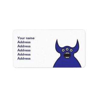 Kawaii Blue Alien Monster Face Label