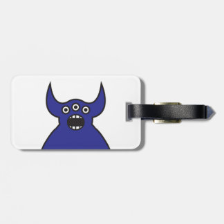 Kawaii Blue Alien Monster Face Luggage Tag