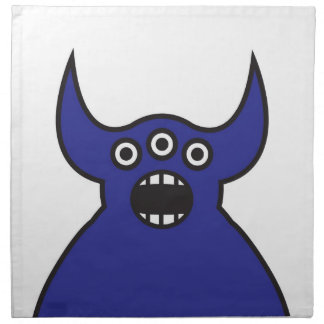 Kawaii Blue Alien Monster Face Napkin