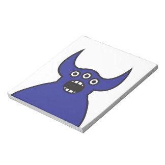 Kawaii Blue Alien Monster Face Notepad