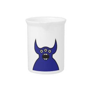 Kawaii Blue Alien Monster Face Pitcher