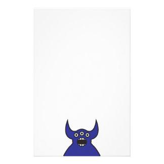 Kawaii Blue Alien Monster Face Stationery