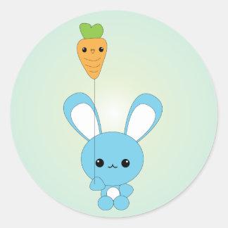 Kawaii Blue Bunny and Carrot Balloon stickers