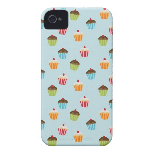 Kawaii blue cupcake pattern print Blackberry case