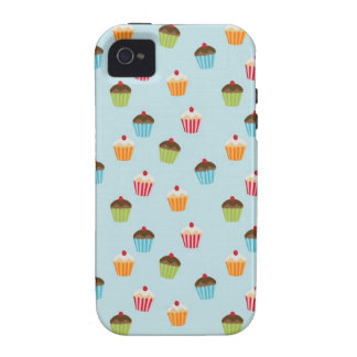 Kawaii blue cupcake pattern print iPhone 4S case Case-Mate iPhone 4 Covers