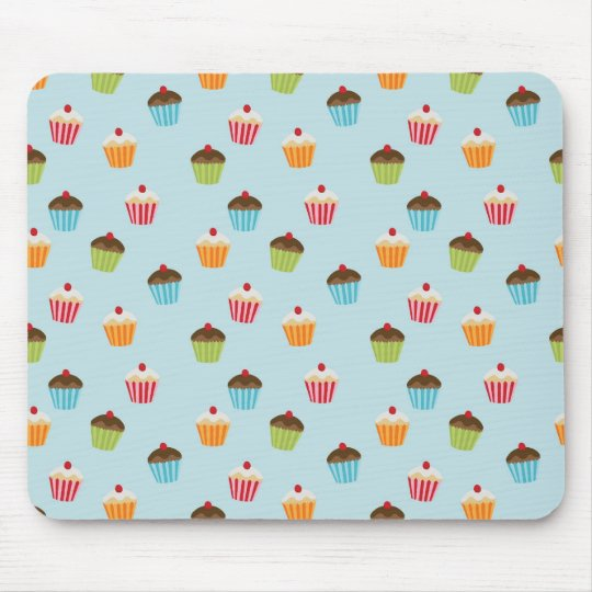 Kawaii blue cupcake pattern print. mouse mat