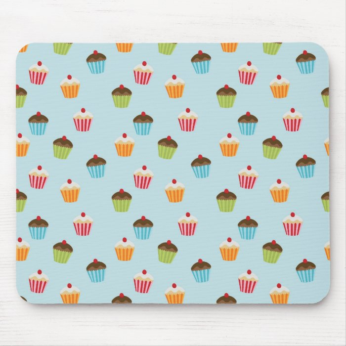 Kawaii blue cupcake pattern print. mouse pad