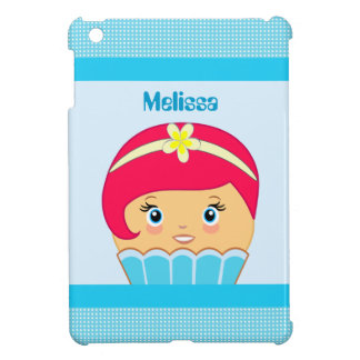 Kawaii Blue Cute Cupcake Character IPad Mini Case