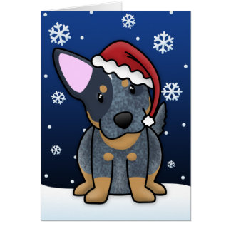 Kawaii Blue Heeler Christmas Card