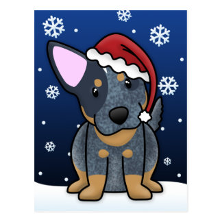 Kawaii Blue Heeler Christmas Postcard