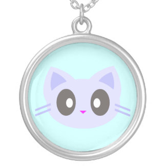 Kawaii Blue Kitty Cat Sterling Silver Necklace