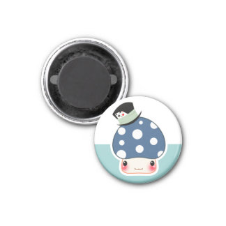 Kawaii blue mushroom with cute hat 3 cm round magnet