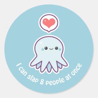 Kawaii Blue Octopus Round Sticker