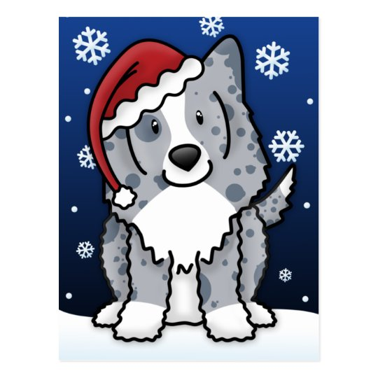 Kawaii Blue Sheltie Christmas Postcard
