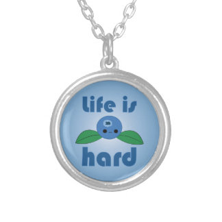 Kawaii Blueberry Life is Hard button Round Pendant Necklace