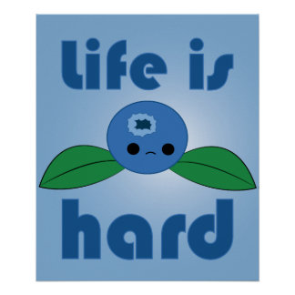 Kawaii Blueberry Life is Hard poster