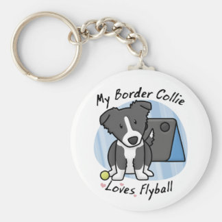 Kawaii Border Collie Flyball Keychain