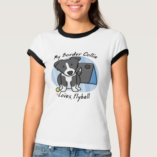 Kawaii Border Collie Flyball Ladies T-Shirt