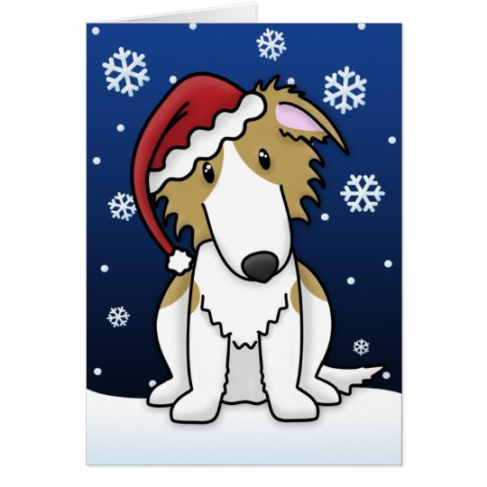 Kawaii Borzoi Christmas Card