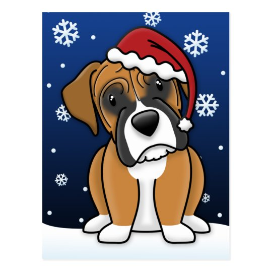 Kawaii Boxer Christmas Postcard