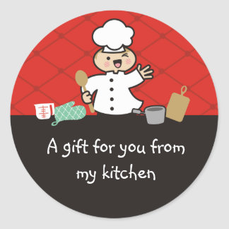 Kawaii boy chef kids cooking gift tag stickers
