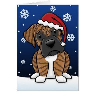 Kawaii Brindle Boxer Christmas Card