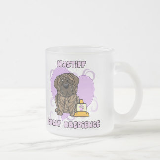 Kawaii Brindle Mastiff Rally Obedience Frosted Glass Mug