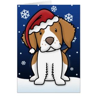 Kawaii Brittany Spaniel Christmas Card