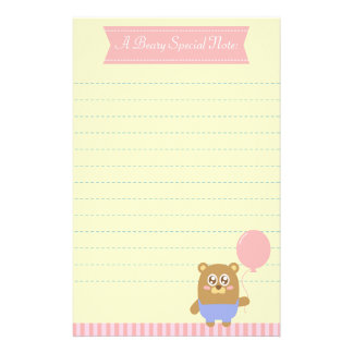 Kawaii brown bear holding a pink balloon custom stationery