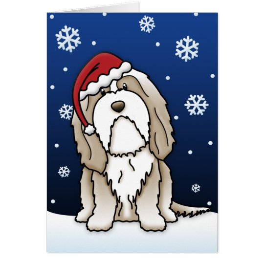 Kawaii Brown Bearded Collie Christmas Card