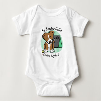 Kawaii Brown Border Collie Flyball Baby Creeper