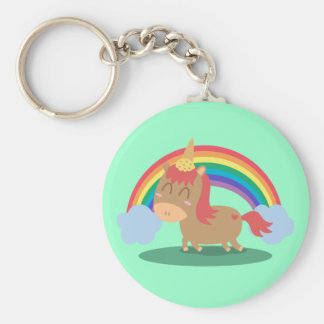 Kawaii Brown Horse trying to be a Unicorn Basic Round Button Key Ring