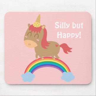 Kawaii Brown Horse trying to be a Unicorn Mouse Mat