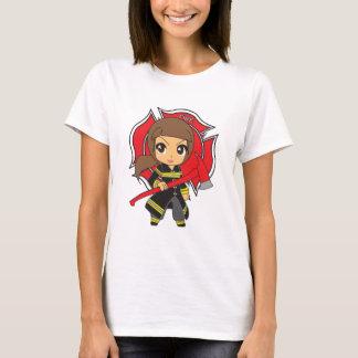 Kawaii Brunette Firefighter Girl - Customizable T-Shirt