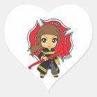 Kawaii Brunette Firefighter Girl - Heart Sticker