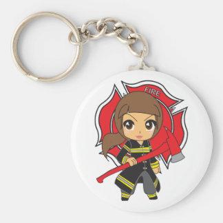 Kawaii Brunette Firefighter Girl Key Ring