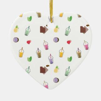 Kawaii Bubble Tea Ceramic Heart Decoration